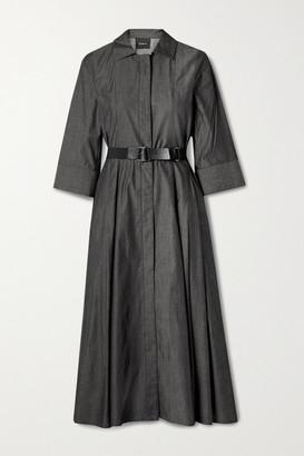 Akris Belted Cotton-poplin Midi Shirt Dress - Black