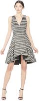 Alice + Olivia Tanner Asymmetrical V-Neck Flare Dress