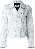 MM6 MAISON MARGIELA crack effect biker jacket - women - Calf Leather/Polyester - 42