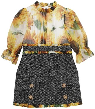 Dolce & Gabbana Sunflower Print Organza & Boucle Dress