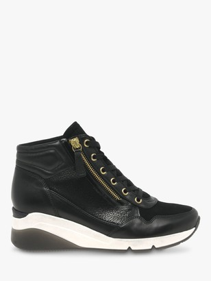Gabor Wide Fit Patricia Leather High Top Trainers, Schwarz