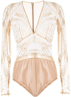 ZUHAIR MURAD Embroidered Long-Sleeve Bodysuit
