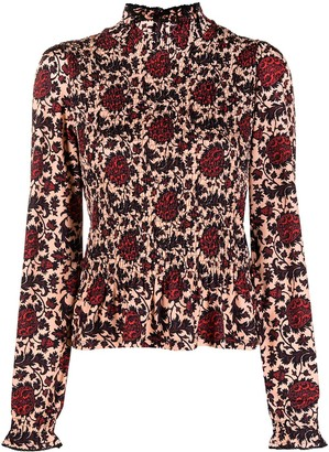 Sandro Floral Long-Sleeve Blouse