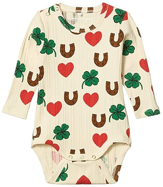 Mini Rodini Clover All Over Printed Long Sleeve Bodysuit (Infant) (Beige) Kid's Jumpsuit & Rompers One Piece