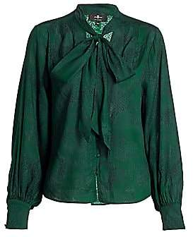 7 For All Mankind Women's Tie-Neck Python Print Blouse