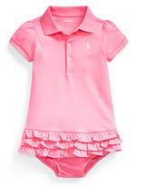 Ralph Lauren Childrenswear Interlock Knit Ruffle Polo Dress w/ Bloomers, Size 6-24 Months