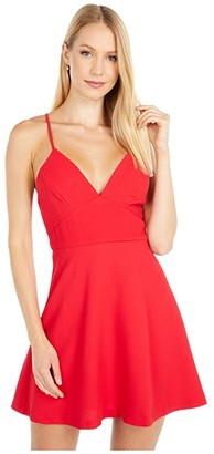 BCBGeneration V-Neck Fit and Flare Dress - GEF6221667 (Ribbon Red) Women's Dress