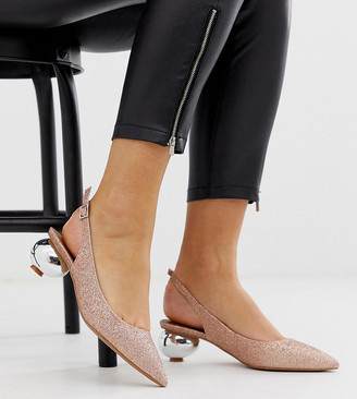 Asos Design DESIGN Wide Fit Sphere slingback ball heels in rose gold glitter