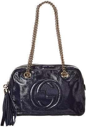 Gucci Blue Patent Leather Chain Soho Bag