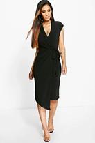 boohoo Wrap Front Midi Dress