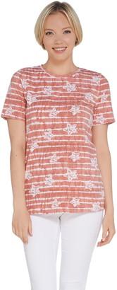 Denim & Co. Perfect Jersey Star Print Short Sleeve Top