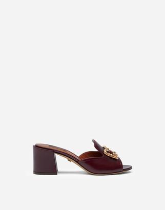 Dolce & Gabbana Calfskin Mules With Amore Logo