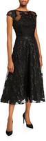 Lela Rose Boat-Neck Shimmered Lace Illusion Dress