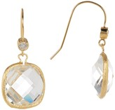 Rivka Friedman 18K Gold Clad Faceted Rock Crystal & CZ Accent Dangle Earrings