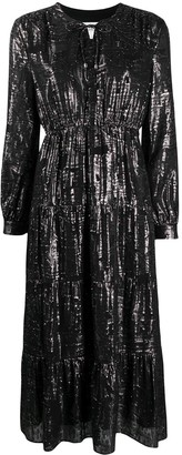 BA&SH Metallic-Tone Long-Sleeved Midi Dress
