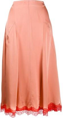 Semi-Couture Lace Hem Midi Skirt