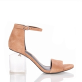 Alexander Wang Abby Clay Suede Sandal with Lucite Heel