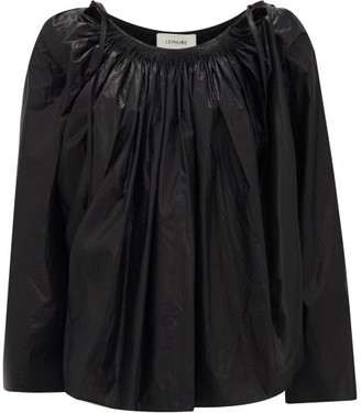Lemaire Gathered Cotton-chintz Blouse - Womens - Black