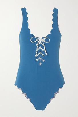 Marysia Swim Palm Springs Reversible Scalloped Lace-up Stretch-crepe Swimsuit - Azure