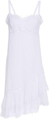 Charo Ruiz Ibiza Asymmetric Crocheted Lace-trimmed Cotton-blend Voile Dress