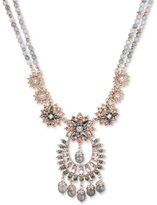 Marchesa Gold-Tone Beaded Crystal Cluster Pendant Necklace