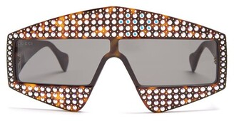 Gucci Crystal-embellished Shield Acetate Sunglasses - Womens - Brown Silver