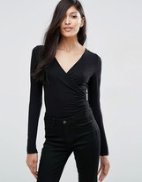 Asos Wrap Front Body With Long Sleeves
