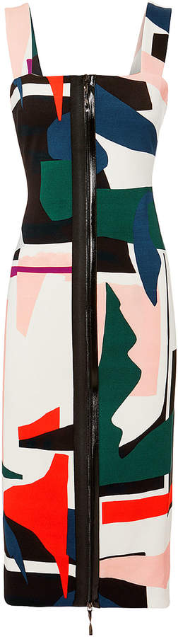 Cushnie Orlena Abstract Print Dress