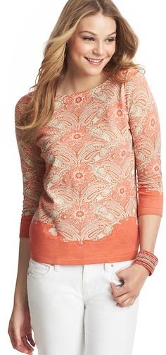 LOFT Paisley Bouquet Print Cotton Sweater