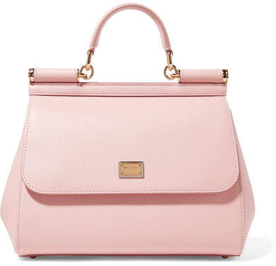 Dolce & Gabbana Sicily Medium Textured-leather Tote - Baby pink