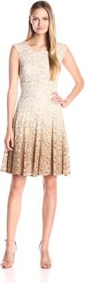 Chetta B Women's Extended Shoulder Magic Waist Ombre Lace Dress