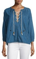 The Great The Rope Lace-Up Denim Pullover, Harbor Wash