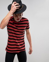 Asos Halloween Longline Stripe T-shirt With Distressing