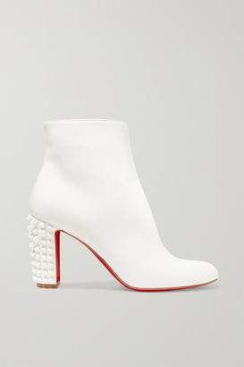 Christian Louboutin Suzi Folk 85 Spiked Leather Ankle Boots - White