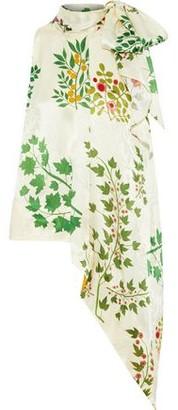 Oscar de la Renta Pussy-bow Floral-print Silk-jacquard Top