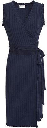 Milly Ruffle-trimmed Ribbed-knit Wrap Dress