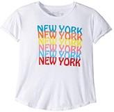 Original Retro Brand The Kids Rolled Short Sleeve Slub New York Tee (Big Kids) (White) Girl's Clothing