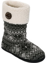 Dearfoams Women's Tall Cable-Fairisle Boot Slipper with Button