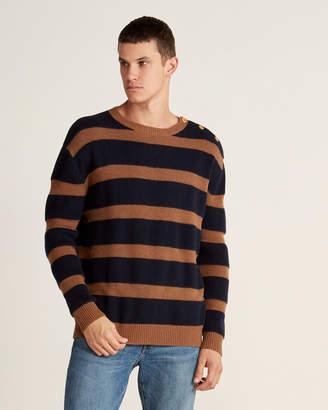 Le Mont St Michel Stripe Button Long Sleeve Sweater