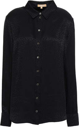 Michael Kors Leopard-print Silk-jacquard Shirt