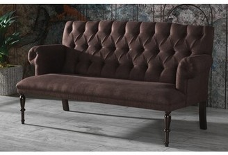 """Canora Grey Liberty Hill Microfiber/Microsuede Rolled Arm 66"""" Loveseat Fabric: Brown"""