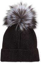 Neiman Marcus Cashmere Fur-Pompom Hat, Black/Gray
