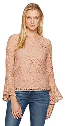 Adrianna Papell Women's Long Bell Sleeve Lace Blouse