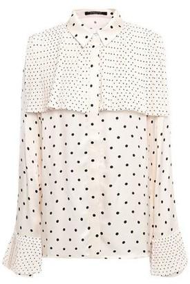 Mother of Pearl Jasper Layered Pleated Polka-dot Satin Shirt