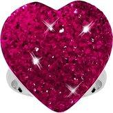 Body Candy Fuchsia Sparkler Heart Adjustable Ring