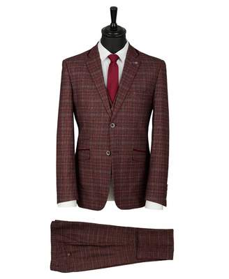 House Of Cavani Three Piece Checked Suit Colour: WINE, Size: 38R