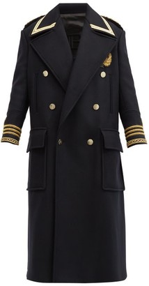 Balmain Double-breasted Wool-blend Military Coat - Navy