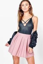 Boohoo Petite Melissa Textured Skater Skirt