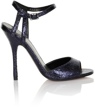 Little Mistress Footwear Navy Cracked PU Peep Toe Ankle Strap Heels