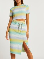 Thumbnail for your product : River Island Space Dye Midi Pencil Skirt-green